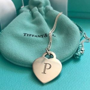"Tiffany & Co. ""P"" Charm & 20"" 925 Silver Necklace"